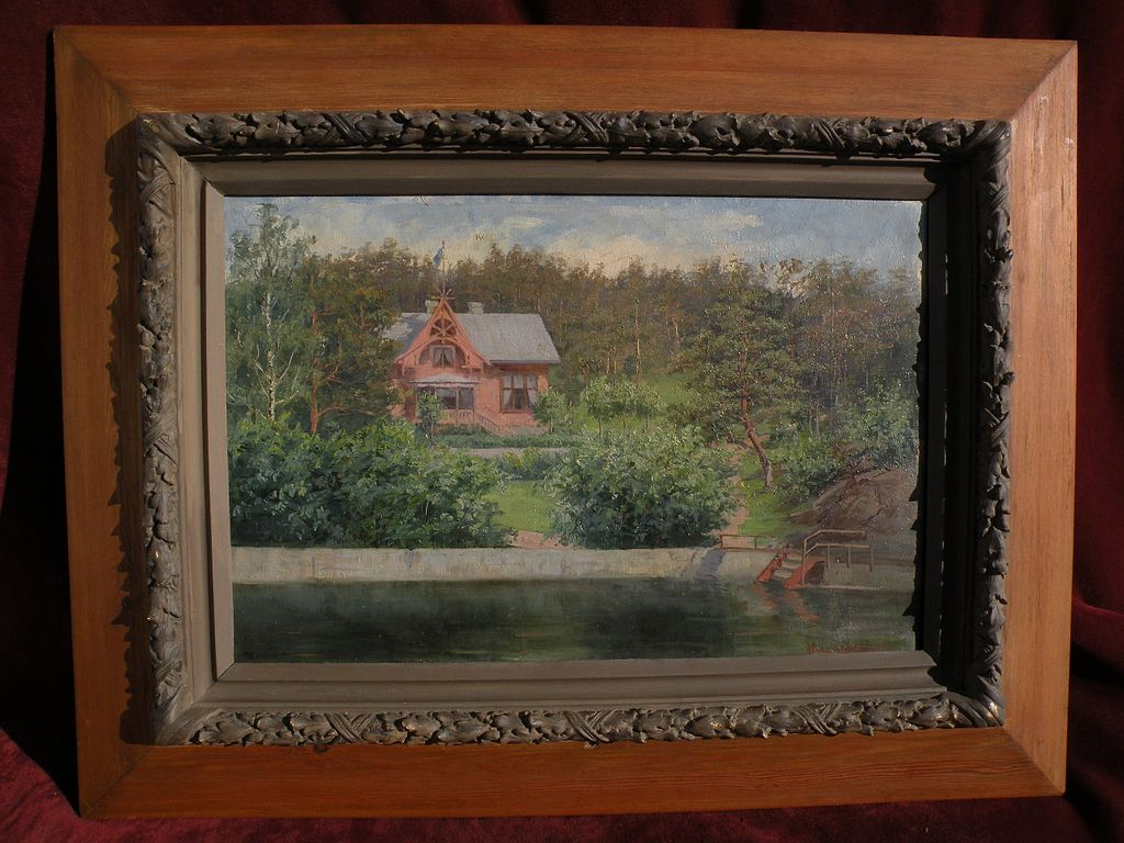 Scandinavian art antique Swedish painting of a quaint lakeside house by ALMA HALLSTEINSON (1859-1934)