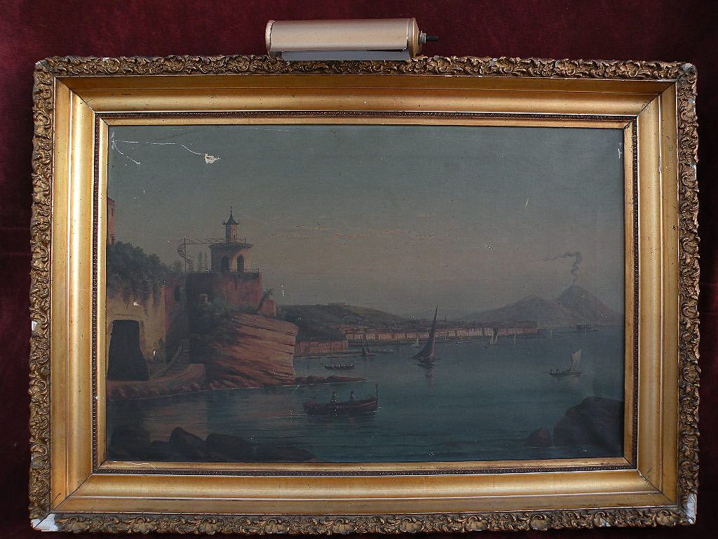 Late 19th century Neapolitan painting Bay of Naples Italy with Mt. Vesuvius
