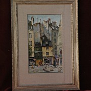 JACK HINES (1923-) well listed western American artist original 1984 detailed watercolor of Paris scene
