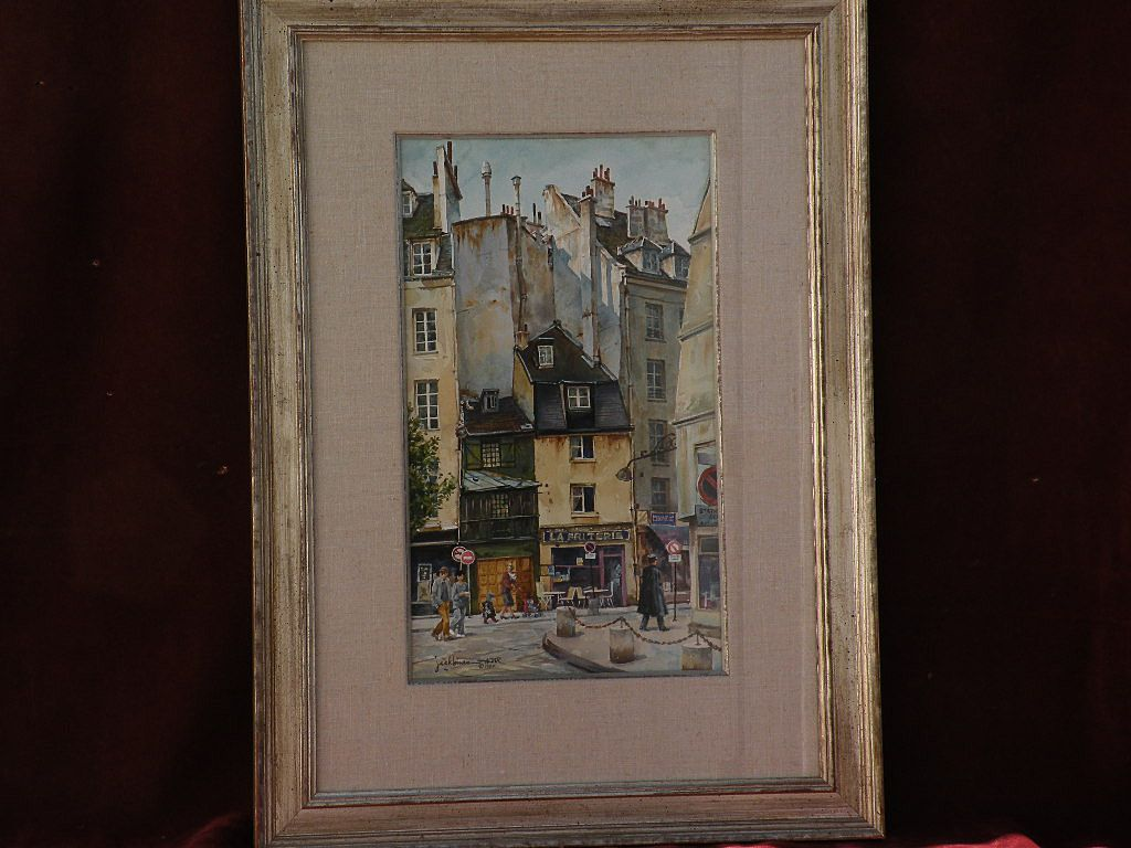 JACK HINES (1923-2015) well listed western American artist original 1984 detailed watercolor of Paris scene
