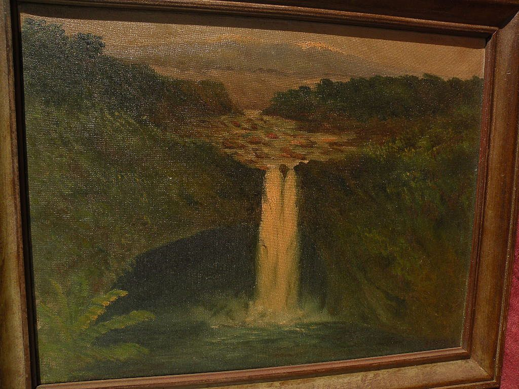 Vintage Hawaiian art 1920 signed dated painting of Rainbow Falls near Hilo