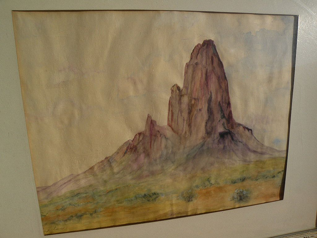 Southwest art Arizona signed watercolor painting of El Capitan mountain in Navajo country