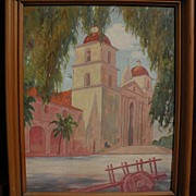 ARTHUR CARL WEIGLE vintage California plein air art 1930 painting of Santa Barbara Mission