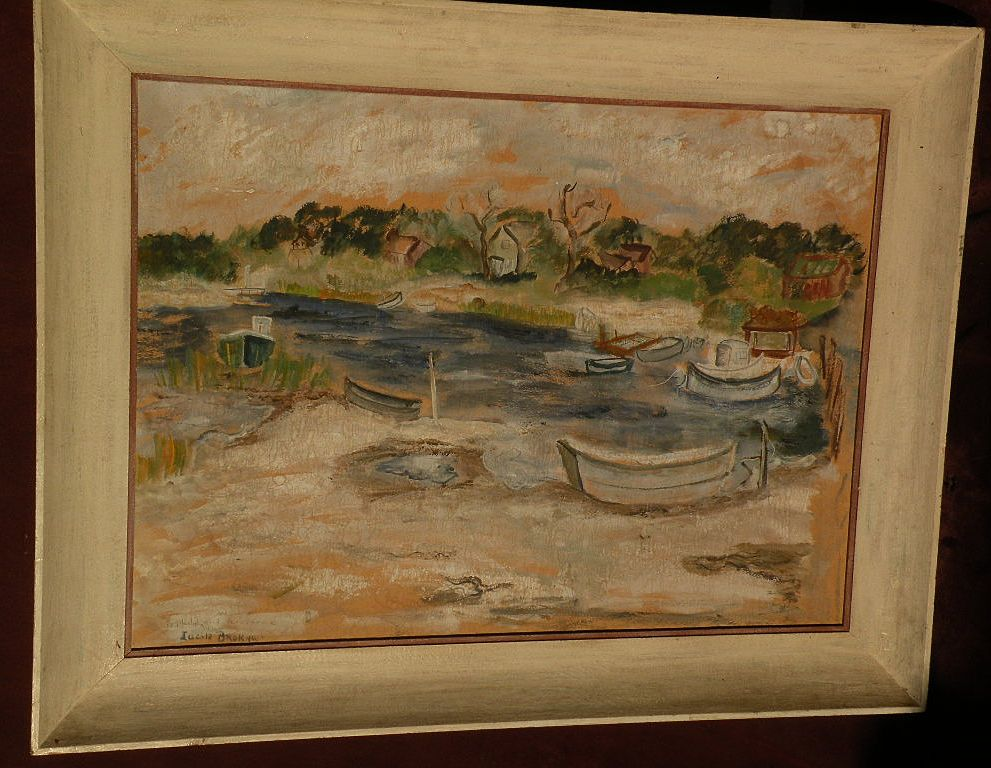 LUCILE BROKAW (1915-1984) gouache 1948 painting of harbor boats by noted socialite model painter