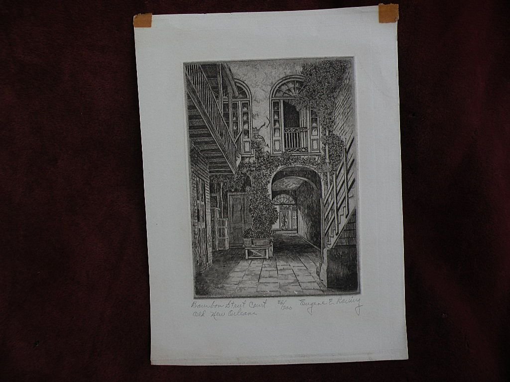 EUGENE F. LOVING (1908-1971) New Orleans Louisiana art original pencil signed etching of French Quarter