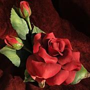 "BOEHM porcelain 1980 limited edition ceramic floral table sculpture ""Alec's Red Rose"""