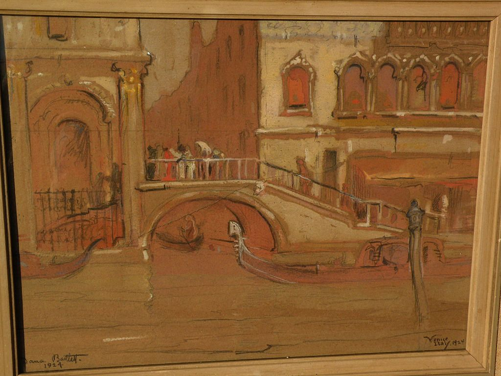 DANA BARTLETT (1882-1957) vintage California plein air art impressionist drawing of Venice Italy as-is condition