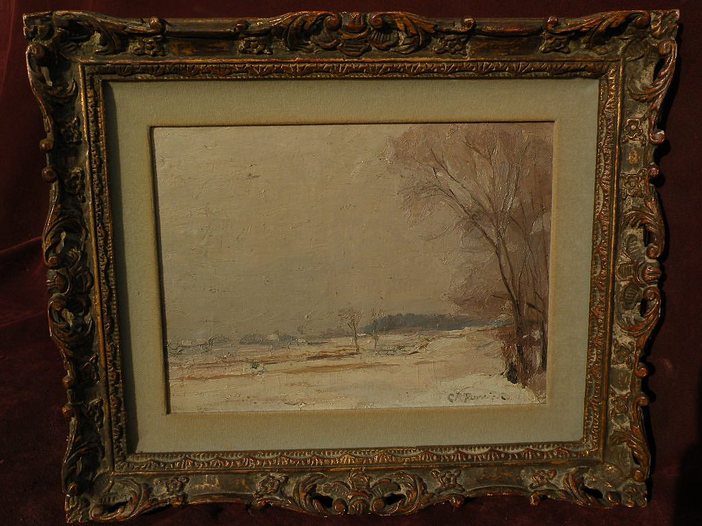 CONSTANT RAPHAEL FURRICK (1888-1966) Connecticut impressionism poetic winter landscape painting