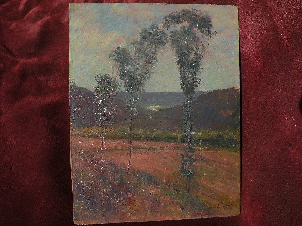 FRANCIS SMITH impressionist art painting of trees in an open landscape
