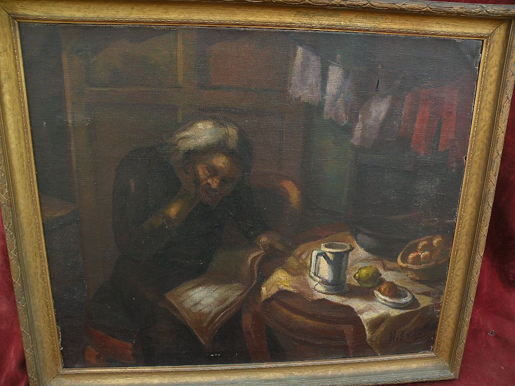HENRY ENSEL circa 1930s large WPA social realism style painting old man reading in interior