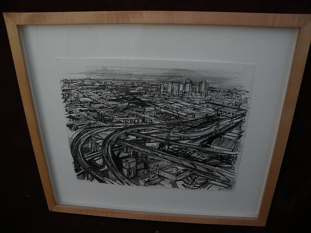ZOLITA SVERDLOVE (1936-2009) California contemporary art drawing of East Los Angeles freeways