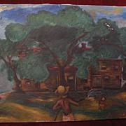"WPA regionalist American Scene era signed 1937 painting ""Heat Wave"""