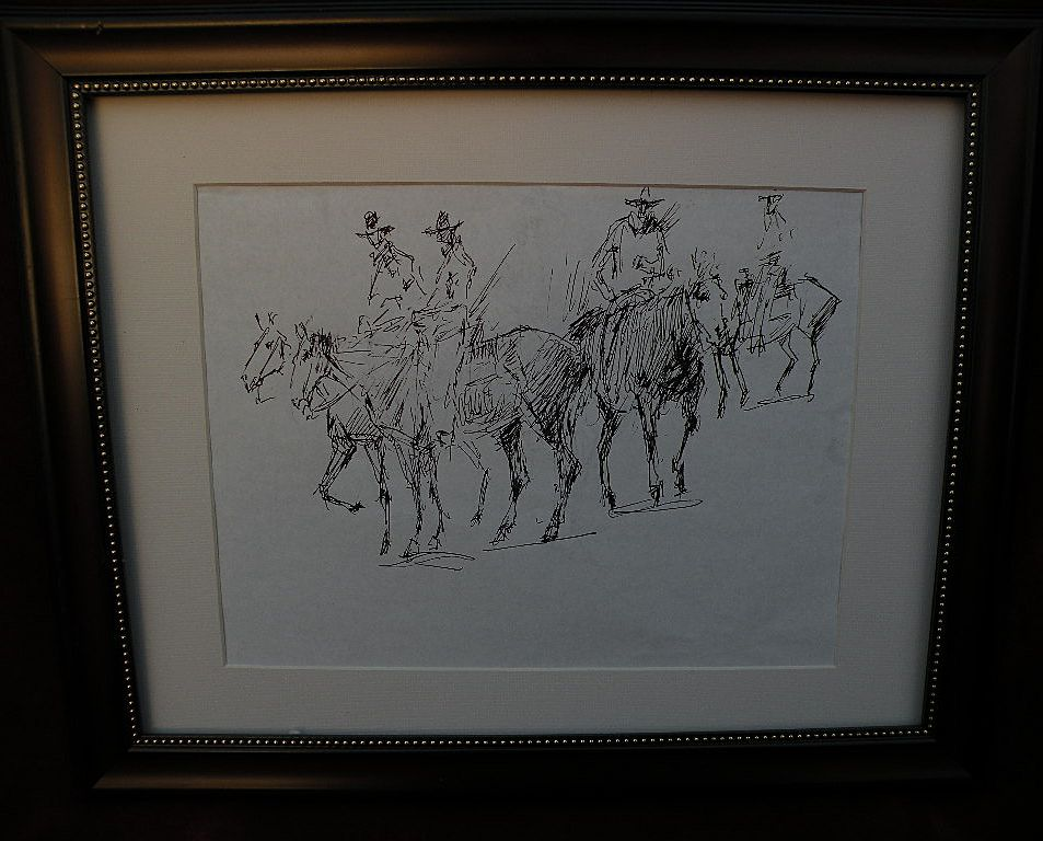 JAMES COLT (1922-2005) California and western artist original double-sided drawing of horses and cowboys