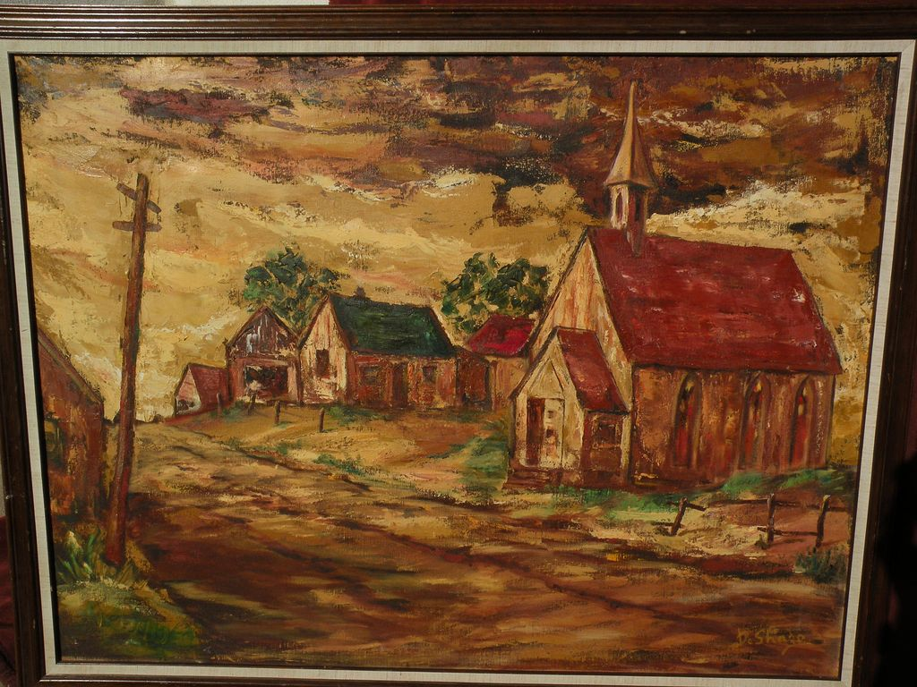 Southwestern Art Regionalist Style Landscape Painting