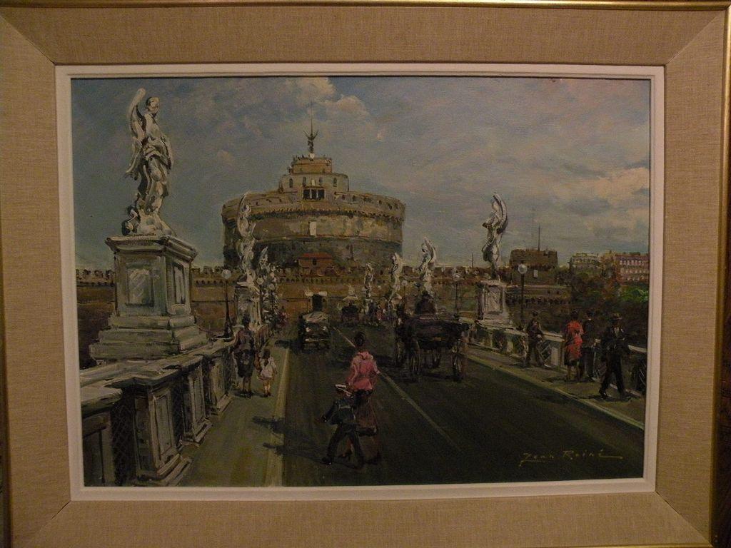 JEAN ROINE (20th century European art) signed impressionist Italian painting famous Rome landmark