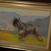 Dog art pastel painting of schnauzer in landscape by noted Alaska artist JOSEPHINE CRUMRINE (1917-2005)