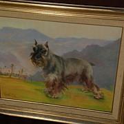 Dog art pastel painting of schnauzer in landscape by noted Alaska artist JOSEPHINE CRUMRINE (1917-2005)