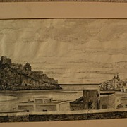 JOHN MORRIS (1920-1991) ink drawing dated 1949 of Ischia Italy by listed surrealist master