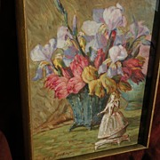 German floral still life gouache painting signed circa 1940