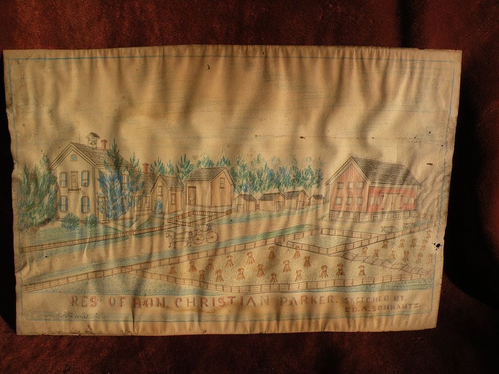 19th century American folk art Ft. Wayne Indiana drawing of an early estate homestead