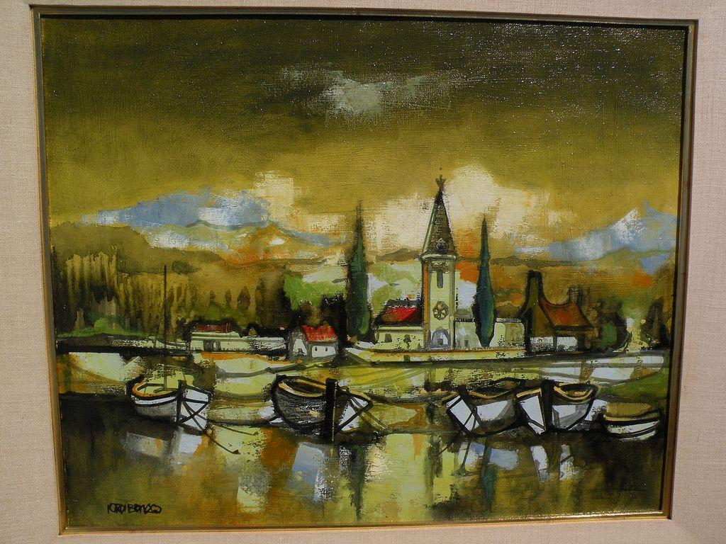 JORDI BONAS (1937-) Spanish contemporary art harborside painting with church Ecole de Paris style