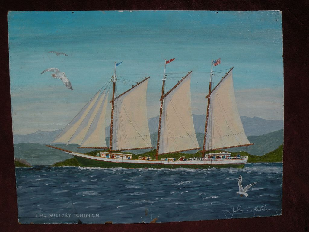 JOHN C. HATLEM (1907-2007) naive marine painting of a coastal schooner by noted Maine artist