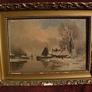 Dutch winter landscape oil painting bearing signature E. PIETERS
