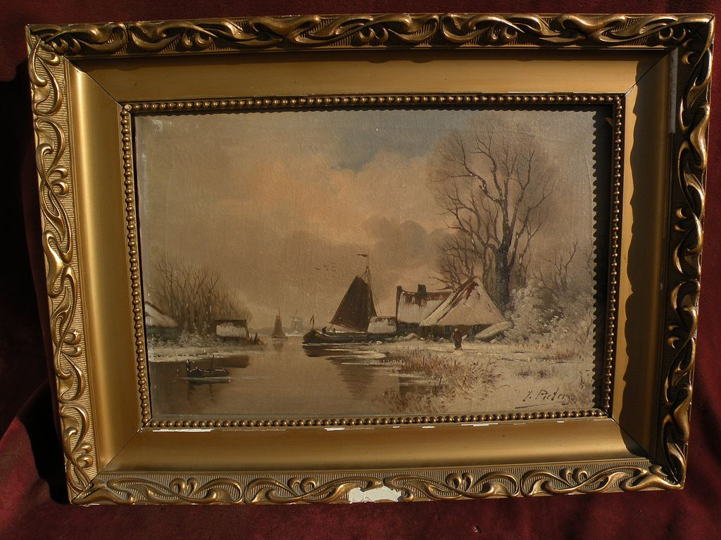 Dutch winter landscape oil painting bearing signature E. PIETERS