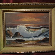 ROBERT WEE (1927-) California plein air art oil painting of coastal waves at sunset