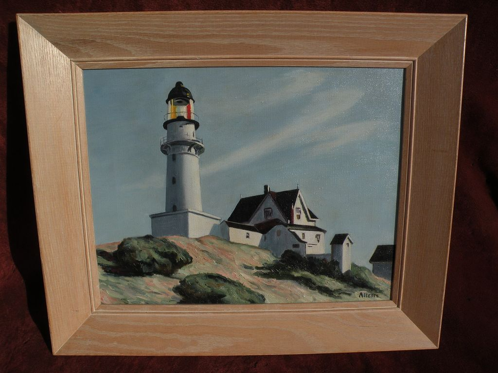 "EDWARD HOPPER (1882-1967) copy of his famous 1929 masterpiece painting ""Lighthouse at Two Lights"""