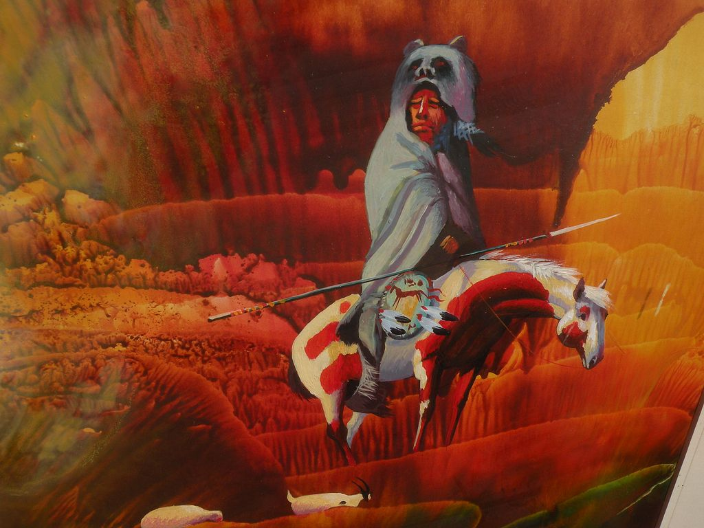Contemporary native american art painting of traditional for Contemporary mural art