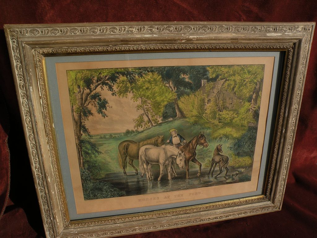 "Large folio Currier and Ives 1867 lithograph print ""Horses at the Ford"""