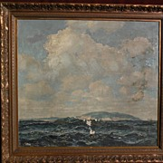 FREDERIC TELLANDER (1878-1977) large coastal marine seascape painting by well listed Midwestern artist and illustrator