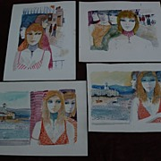 CHARLES LEVIER (1920-2003) **FOUR** watercolor and ink signed drawings of young women