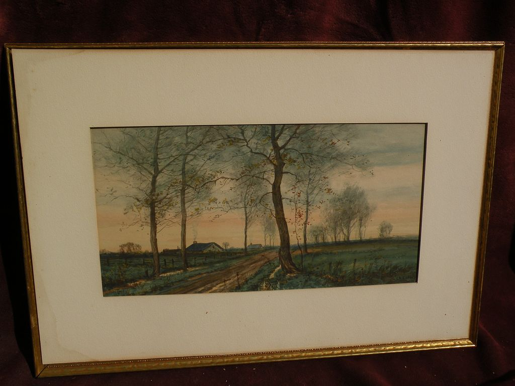 GEORGE ERNEST COLBY (1859-1922) attractive watercolor landscape by listed American 19th century artist