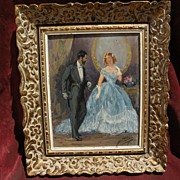 YVES DIEY (1892-1984) French figurative art elegant salon couple painting by well listed artist