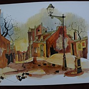 Original painting of Paris street scene signed P. VIGNOT