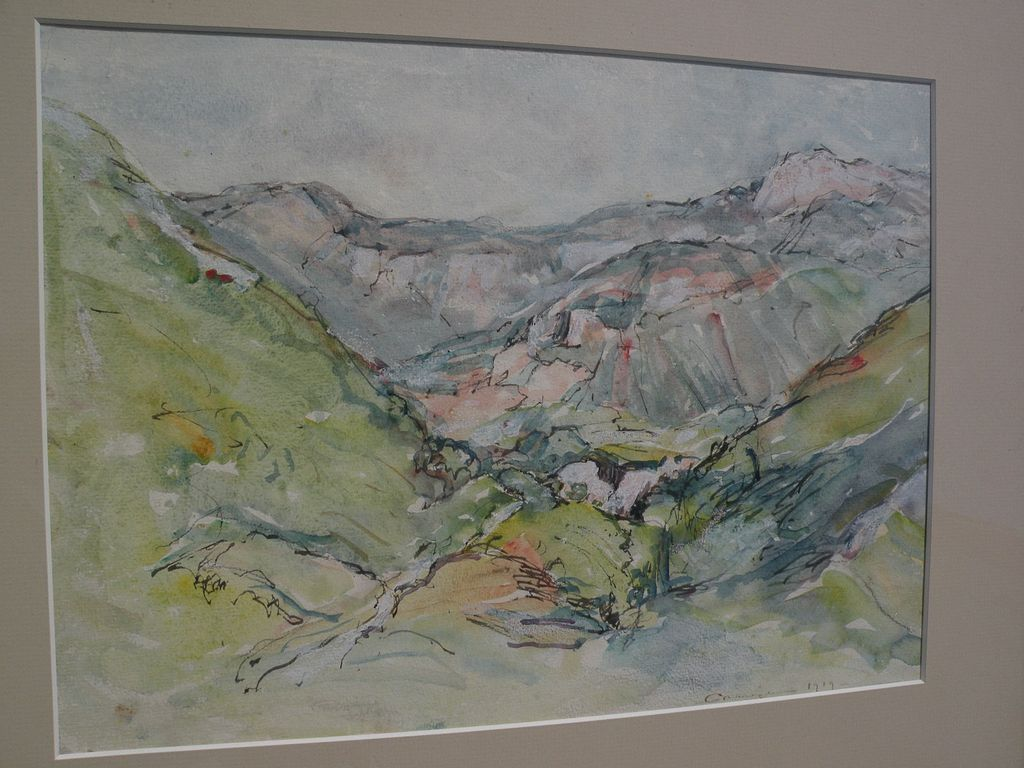 WILLIAM LOUIS CARRIGAN (1868-1939) ink and watercolor drawing of French Alps dated 1919