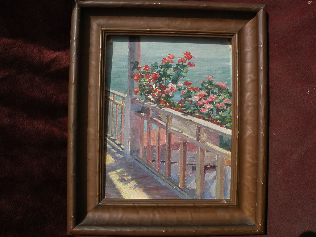 American early 20th century impressionist painting colorful balcony near the sea