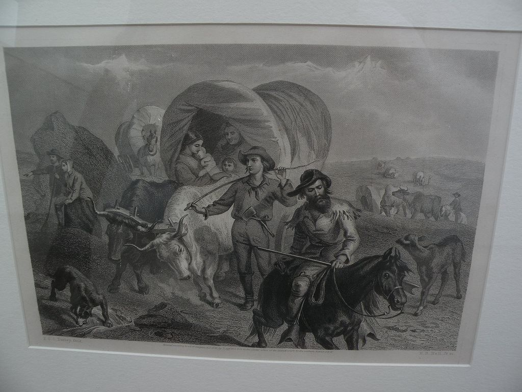 "F.O.C. DARLEY (1822-1888) original 19th century etching ""Emigrants on the Plains"""