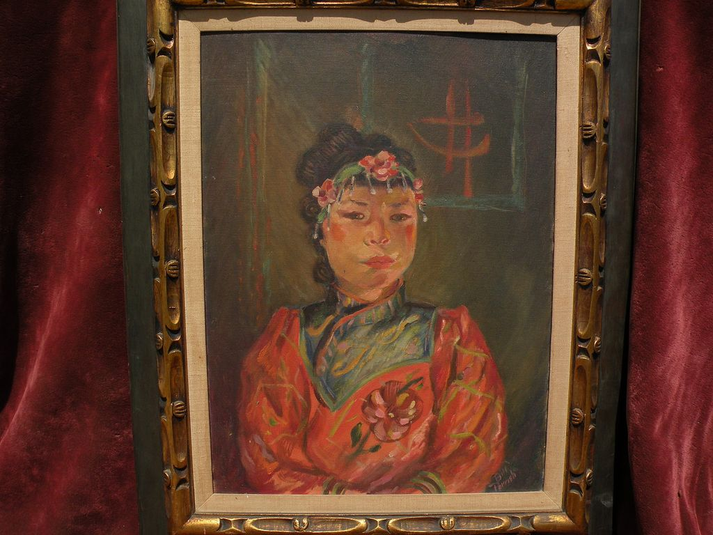 Circa 1950 signed impressionist portrait painting of a young Chinese woman
