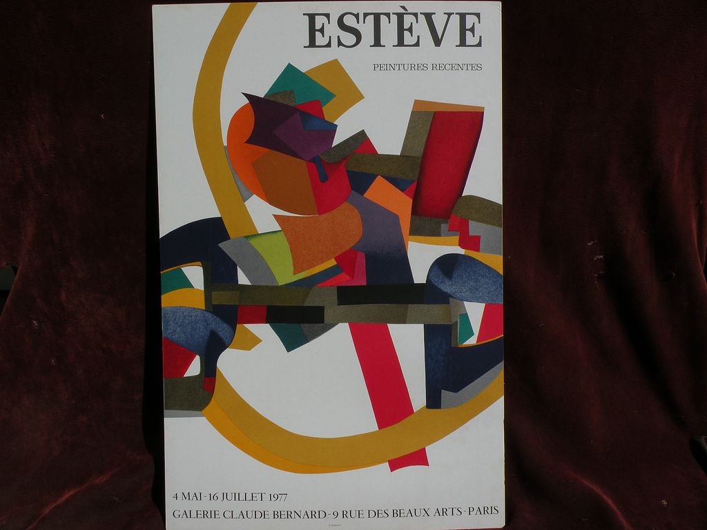 MAURICE ESTEVE (1904-2001) colorful original lithograph gallery poster 1977