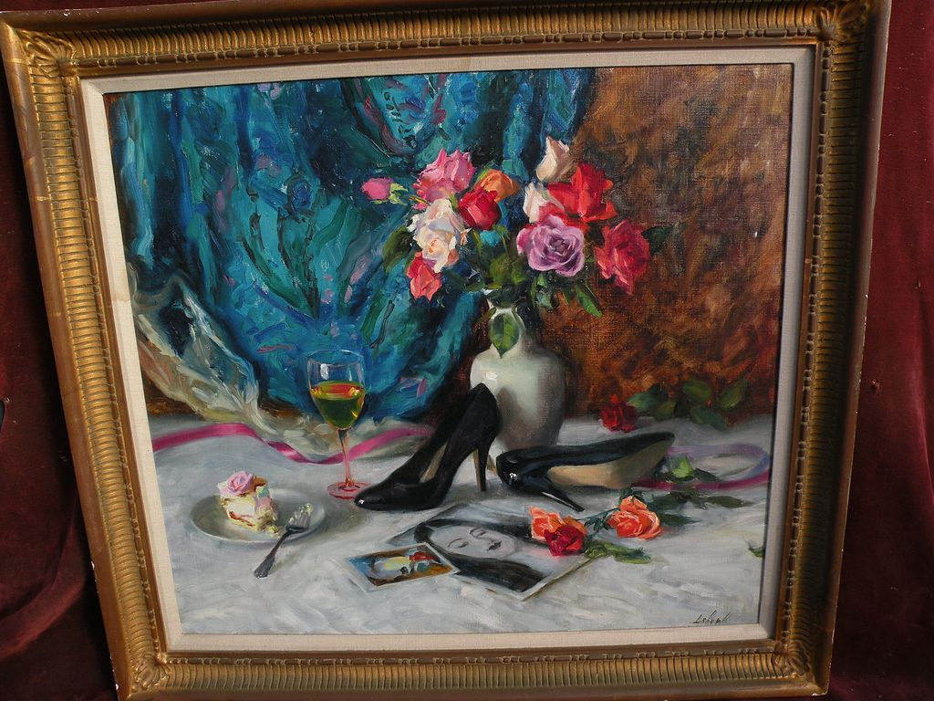 Signed fine late 20th century American impressionist still life painting with a modern touch