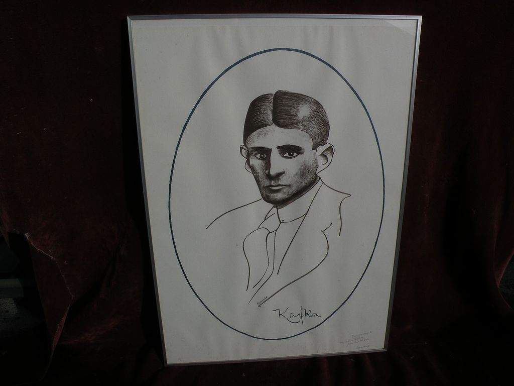 "CARL FREDRIK REUTERSWARD (1934-) pencil signed and inscribed lithograph ""KAFKA"" by noted Swedish pop artist and sculptor"