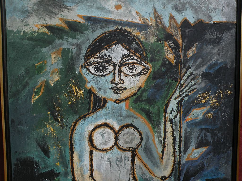 LAXMAN PAI (1926-) modern Indian art expressionist painting by ...