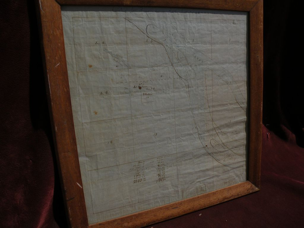 Antique mid 19th century HAND DRAWN survey map of estate near Missouri River in Cooper County, Missouri