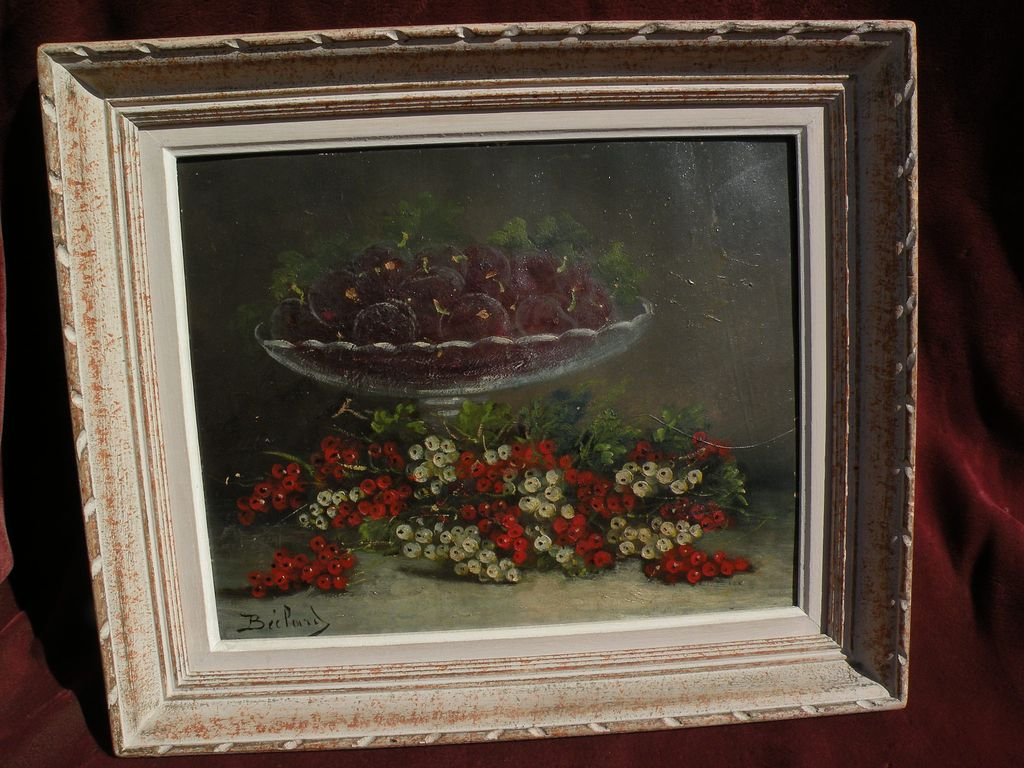 Vintage French signed still life painting of fruit and a compote