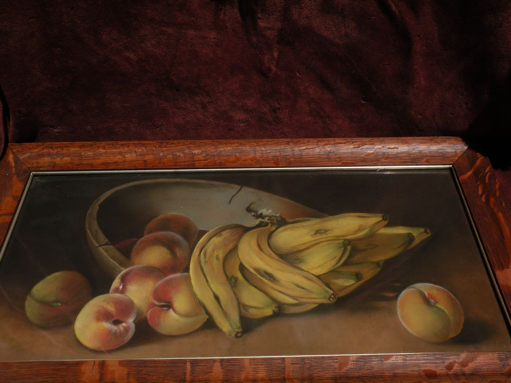Vintage pastel American still life painting circa early 20th century
