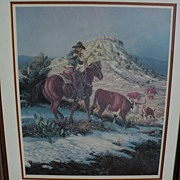 JOE BEELER (1931-2006) pencil signed limited edition print of cowboy on horse by well listed western American artist