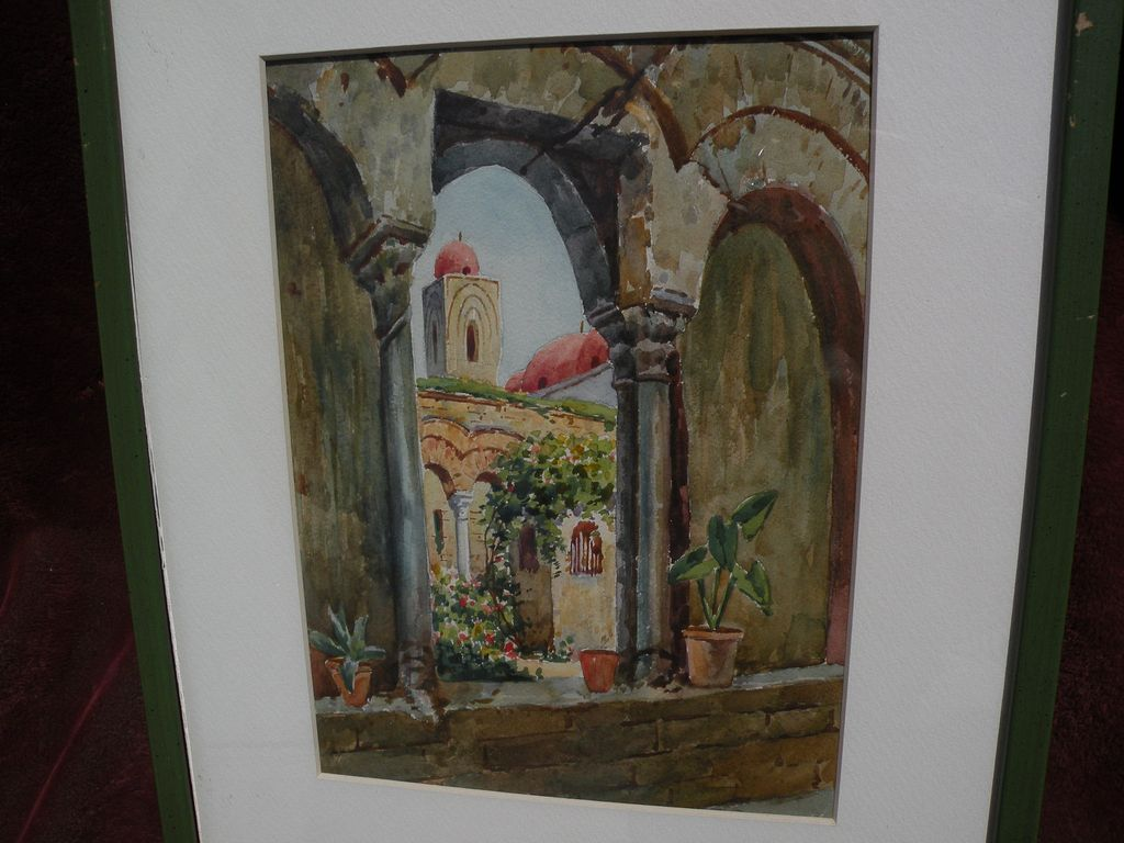 Watercolor painting of Mediterranean church